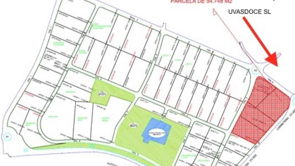 Plano de situación donde está ubicada la empresa Uvasdoce SL.
