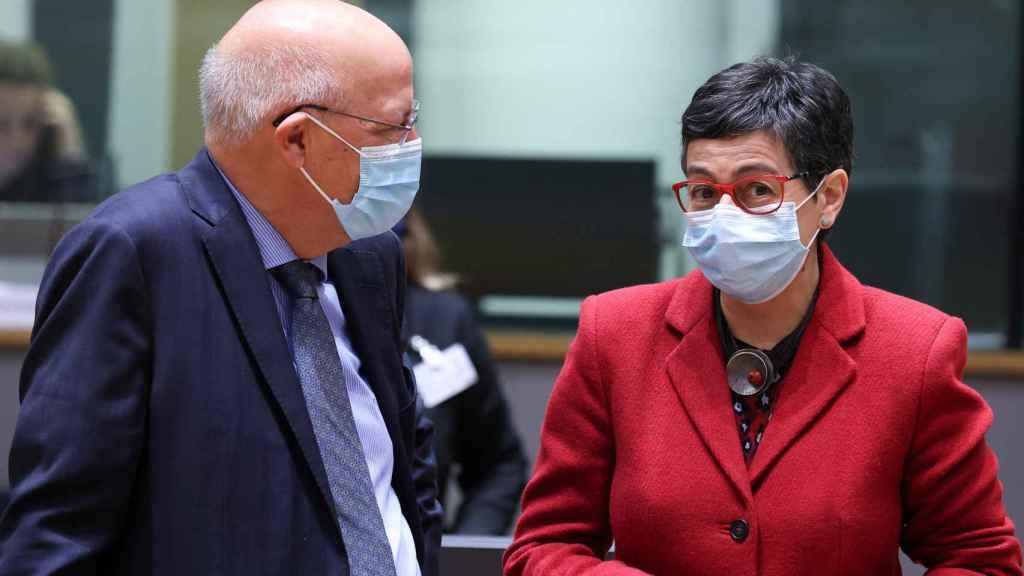 La ministra de Exteriores, Arancha González Laya, durante la reunión de este lunes en Bruselas
