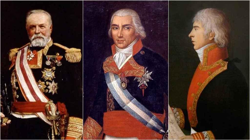 Los almirantes Cervera, Gravina y Churruca.