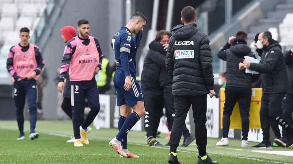 Cristiano Ronaldo tras la derrota de la Juventus contra el Benevento