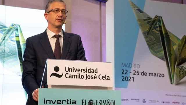 El gobernador del BdE, Pablo Hernández de Cos, en el I Simposio Observatorio de las Finanzas de EL ESPAÑOL e Invertia.