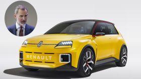 Montaje del Rey Felipe con el Renault 5 que llegaría en 2023 como eléctrico, si bien este no se fabricaría en España.