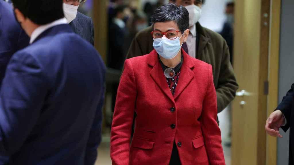 Arancha González Laya, durante la reunión de ministros de Exteriores de la UE celebrada este lunes en Bruselas