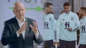 Gianni Infantino y la selección española en un entrenamiento, en un fotomontaje