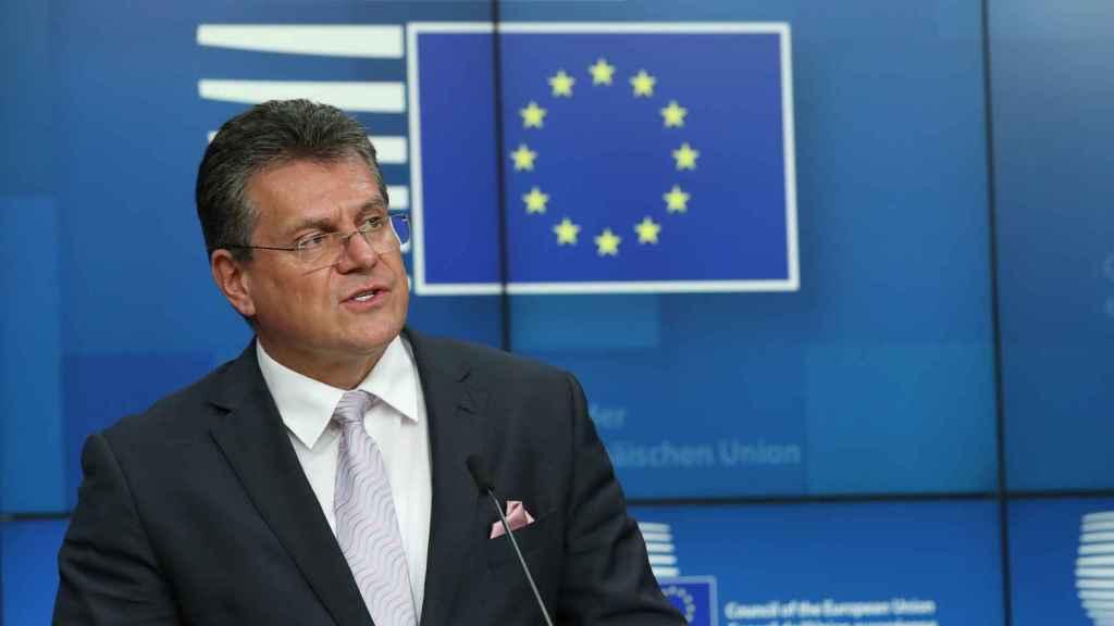 El vicepresidente de la Comisión, Maros Sefcovic, durante una rueda de prensa