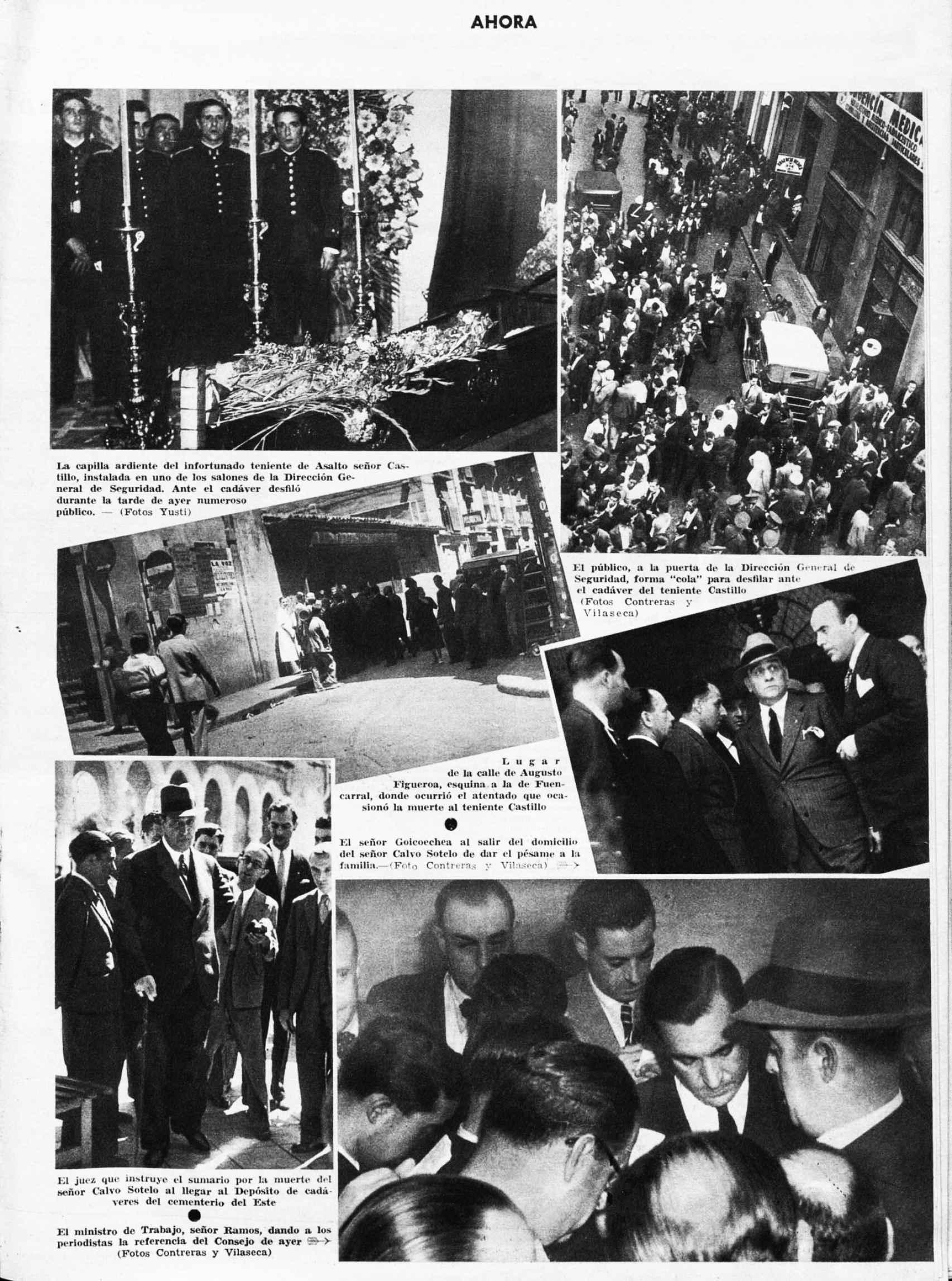 Página gráfica del diario 'Ahora' informando del asesinato del teniente Castillo.