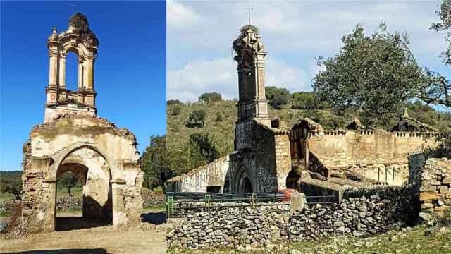 Estado de la iglesias tras la demolición y antes del atentado.