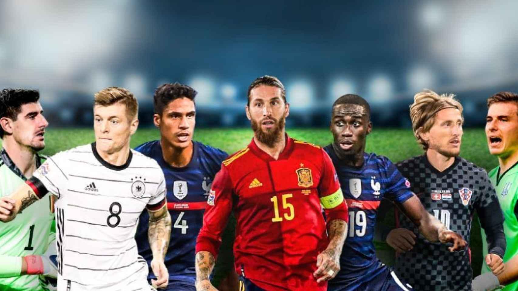Courtois, Kroos, Varane, Sergio Ramos, Ferland Mendy, Modric y Lunin