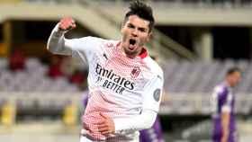 Brahim Díaz celebra un gol con el Milan