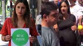 Alejandra Jacinto, candidata de Podemos, y Begoña Villacís sufriendo un escrache, en un montaje de El Español.