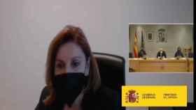 María Dolores de Cospedal, durante su declaración en el juicio contra Luis Bárcenas./