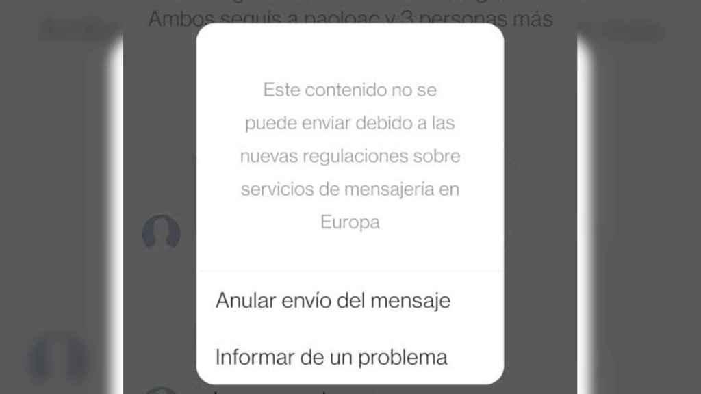 El aviso que aparece en Instagram al enviar un mensaje temporal