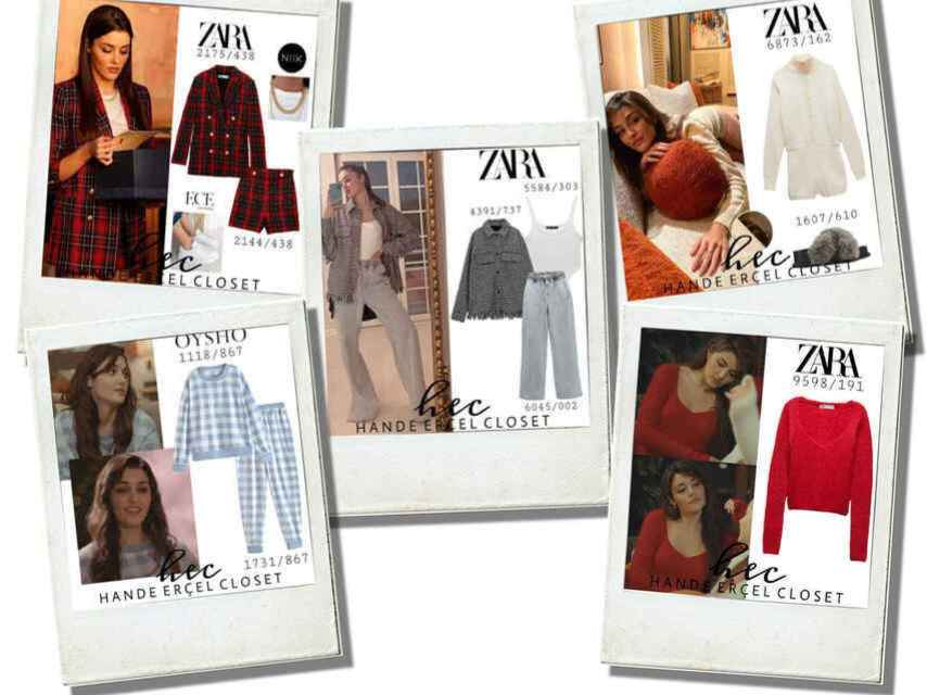 Some of Hande Erçel's 'looks' dressed by Zara and other Inditex sub-brands.