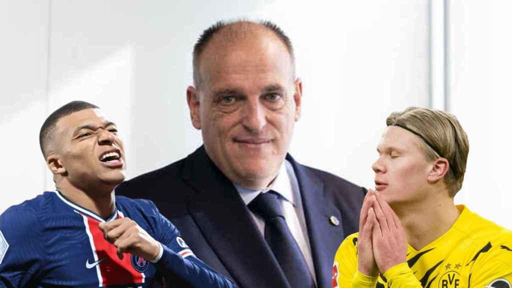 Kylian Mbappé, Javier Tebas y Erling Haaland, en un fotomontaje