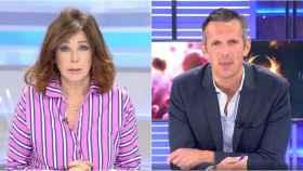 Ana Rosa Quintana y Joaquín Prat en montaje de BLUPER.