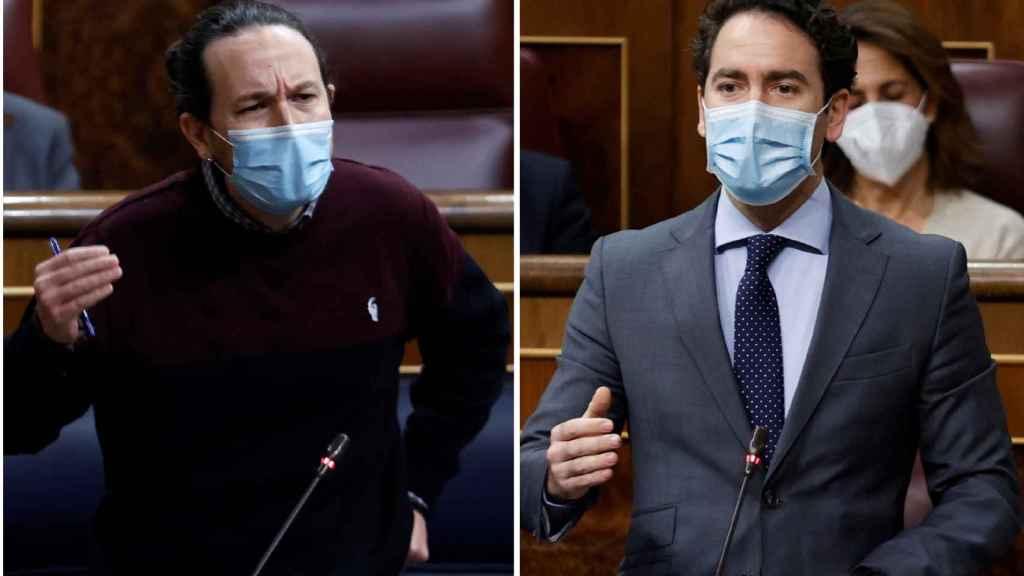 Pablo Iglesias y Teodoro García Egea en sesión de control al Gobierno en el Congreso.