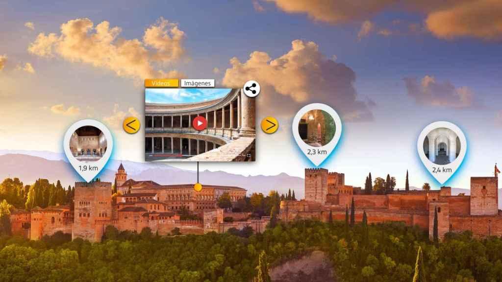 Recreación de la tecnología de realidad aumentada de AR Vision en la Alhambra de Granada.