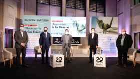 Gregorio Gil de Rozas Balmaseda (IAE), Ángel Martínez-Aldama (Inverco), Eduardo Ortega (Invertia), Rafael Doménech (BBVA) y  Ángel de la Fuente (Fedea), durante el Observatorio de las Finanzas de EL ESPAÑOL e Invertia.