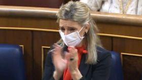 Yolanda Díaz llora en el congreso.