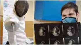 Nicolás, de 31 años es campeón de esgrima con medio cerebro.