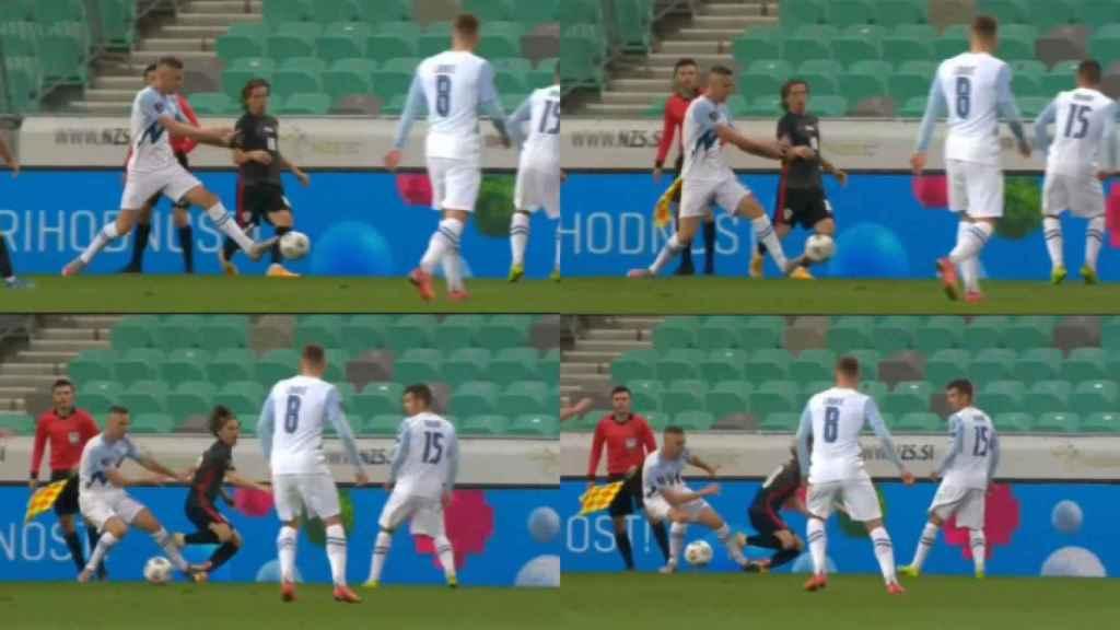 Modric sufre una fuerte entrada con Croacia