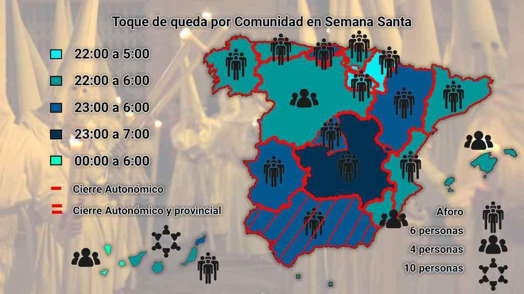 El mapa de las restricciones para Semana Santa por comunidades autónomas.