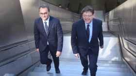 Ximo Puig y Francesc Sanguino, en la estación de Luceros durante la precampaña electoral.