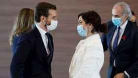 El presidente del PP, Pablo Casado, con Isabel Díaz Ayuso.