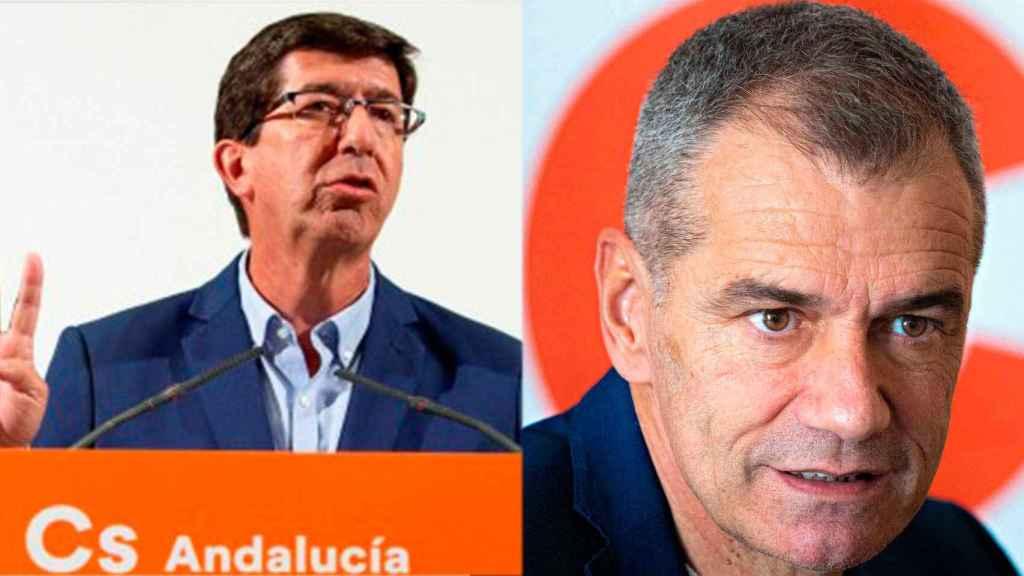 El líder de Cs en Andalucía, Juan Marín, y el exdiputado de Cs, Toni Cantó.