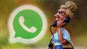 Fotomontaje con el logo de WhatsApp