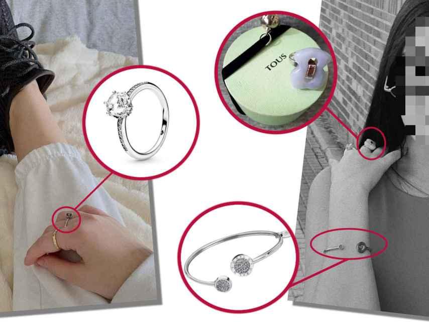 Julia Janeiro con sus joyas: una pulsera de Lotus, un anillo de Tous y otro anillo de Pandora.