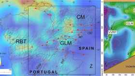 Comparación entre las principales estructuras tectónicas y variaciones de profundidad de la 'zona de transición frágil-dúctil' en el noroeste de la Península (izquierda) y lo que muestra el modelo (derecha).