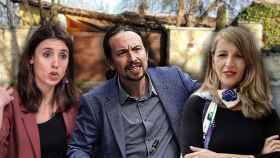 Irene Montero, Pablo Iglesias y Yolanda Díaz en un fotomontaje frente a la casa de Galapagar.