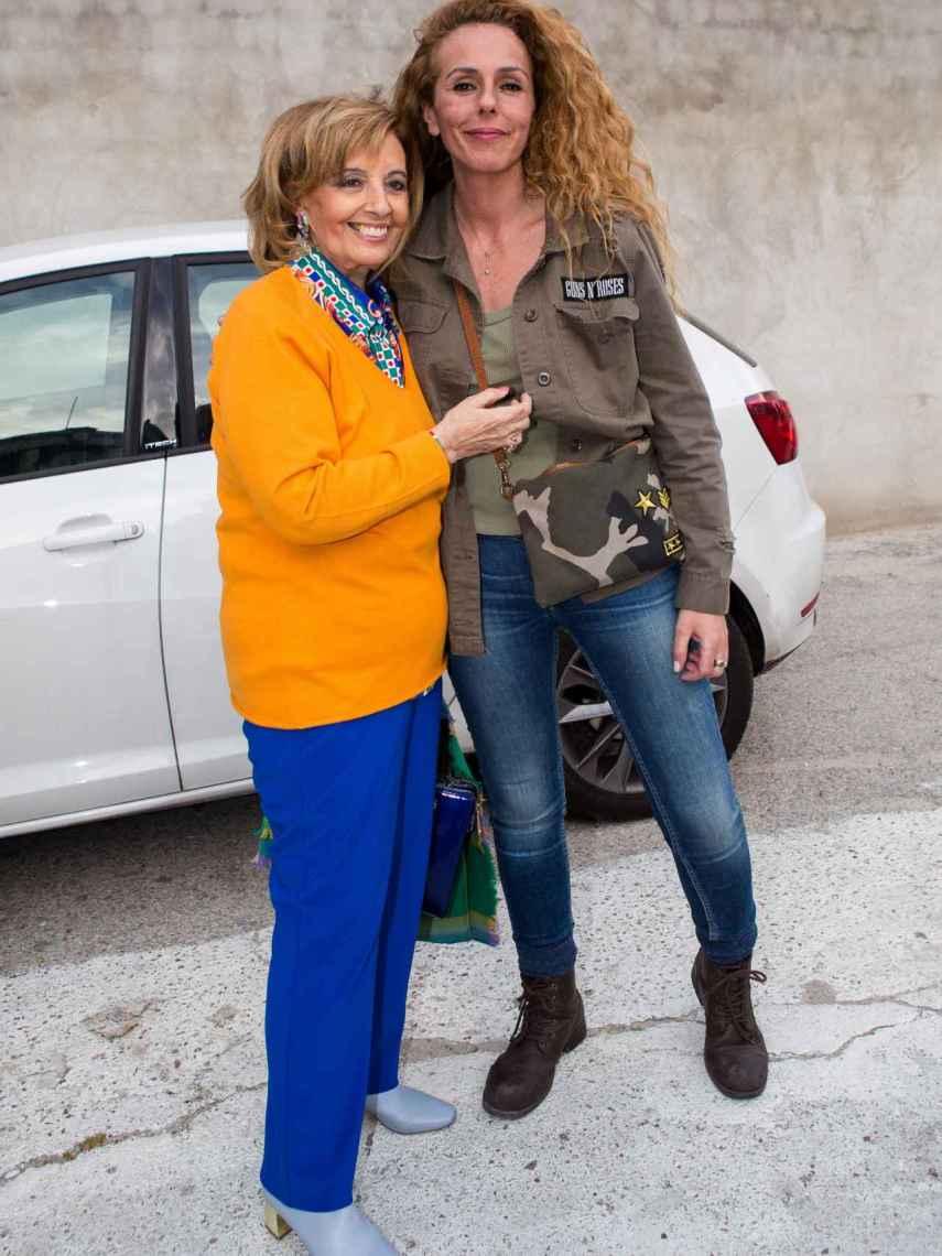 María Teresa Campos y Rocío Carrasco, en las calles de Madrid, en 2018.
