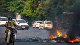 Protestas en Birmania este sábado.