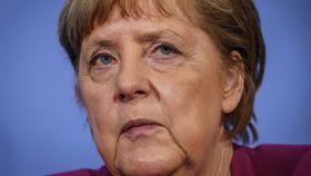 Angela Merkel tras una reunión con los líderes de la UE.