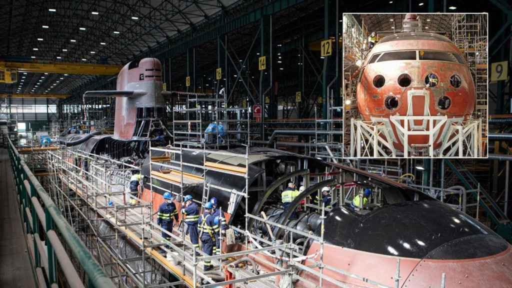 Frontal y uno de los laterales del S-81, el primero de los cuatro submarinos que Navantia entregará a la Armada.