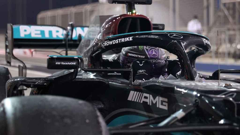 El Mercedes de Lewis Hamilton en el GP de Bahrein