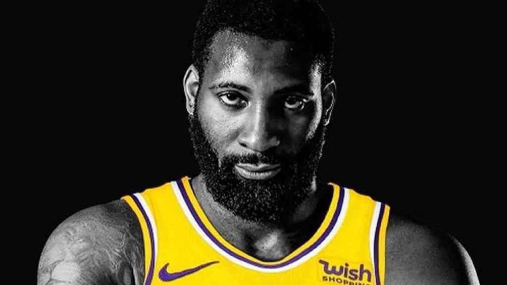 Andre Drummond, en un montaje con la camiseta de Los Ángeles Lakers que publicó en sus redes sociales. Foto: Twitter (@AndreDrummond)