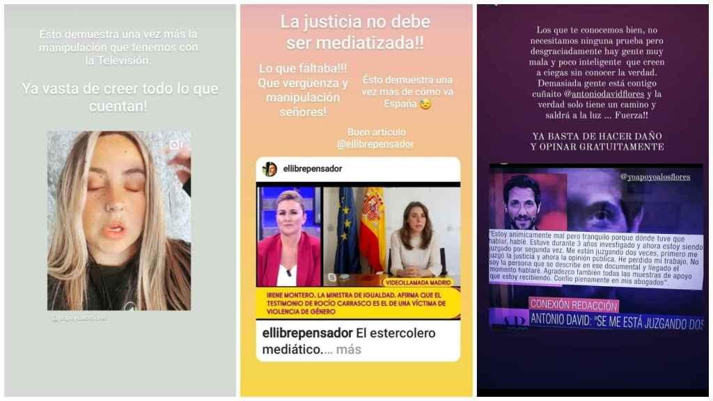 Publicaciones de Rosa Moreno en sus redes sociales.