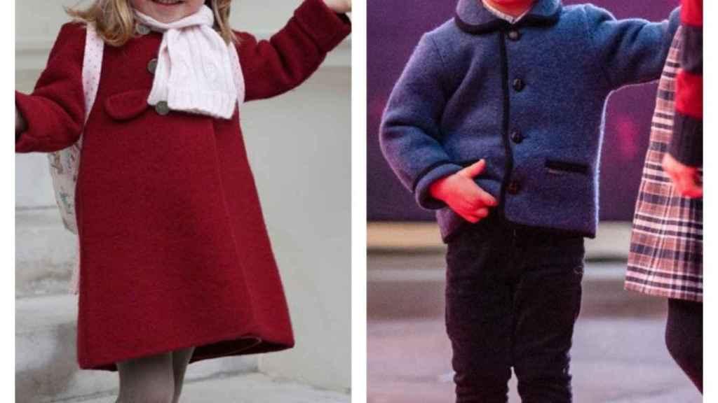 Dos de los hijos de Kate Middleton con los abrigos de Marea Kids.