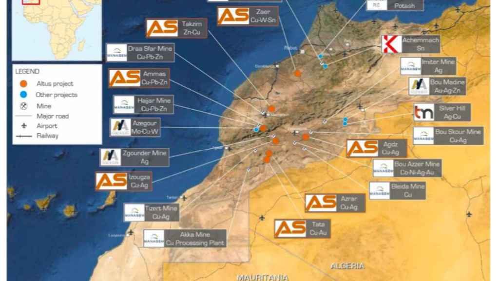The plans of the British mining group Altas to exploit silver and copper in Morocco.