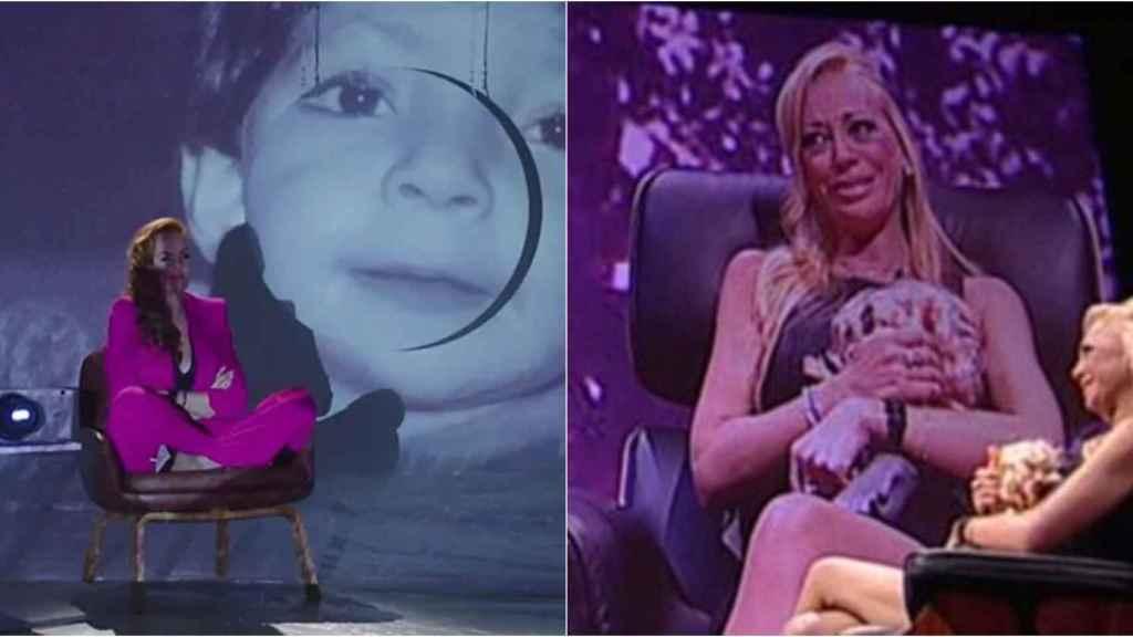 Rocío Carrasco en la serie documental y Belén Esteban en 'La Caja Deluxe'.