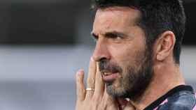 Gianluigi Buffon, en un calentamiento de la Juventus de Turín