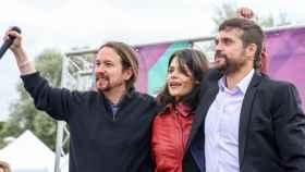 Pablo Iglesias e Isa Serra en un acto de Unidas Podemos en Alcorcón, Madrid, en 2019.