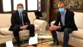 Ximo Puig y Toni Cantó, en el despacho del presidente valenciano. EE