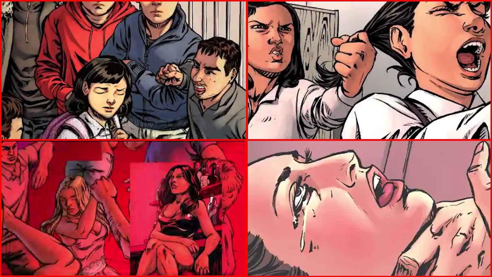 Escenas del cómic 'Amelia, historia de una lucha', presentado por el Instituto de las Mujeres.