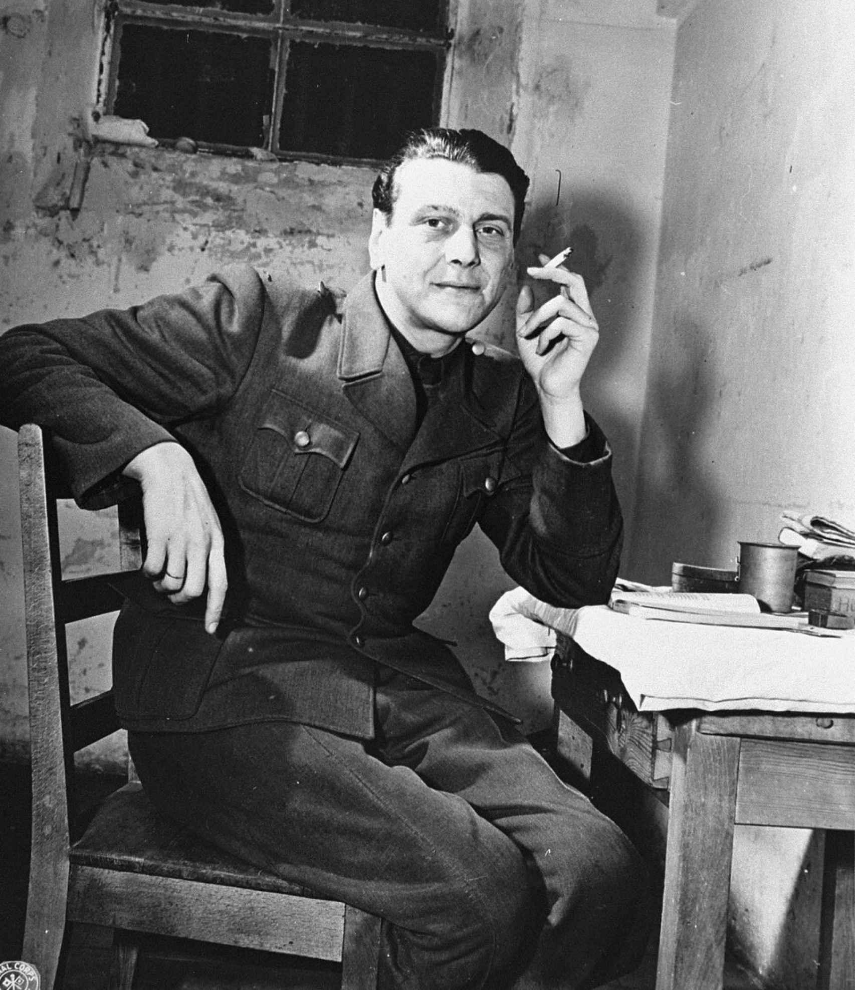 Otto Skorzeny en su celda de Núremberg.